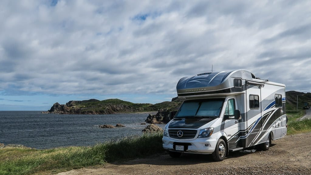 Our Winnebago View at an epic ocean side boondocking spot we stayed at for 2 nights. We were able to see whales and icebergs off the coast from this lovely spot.