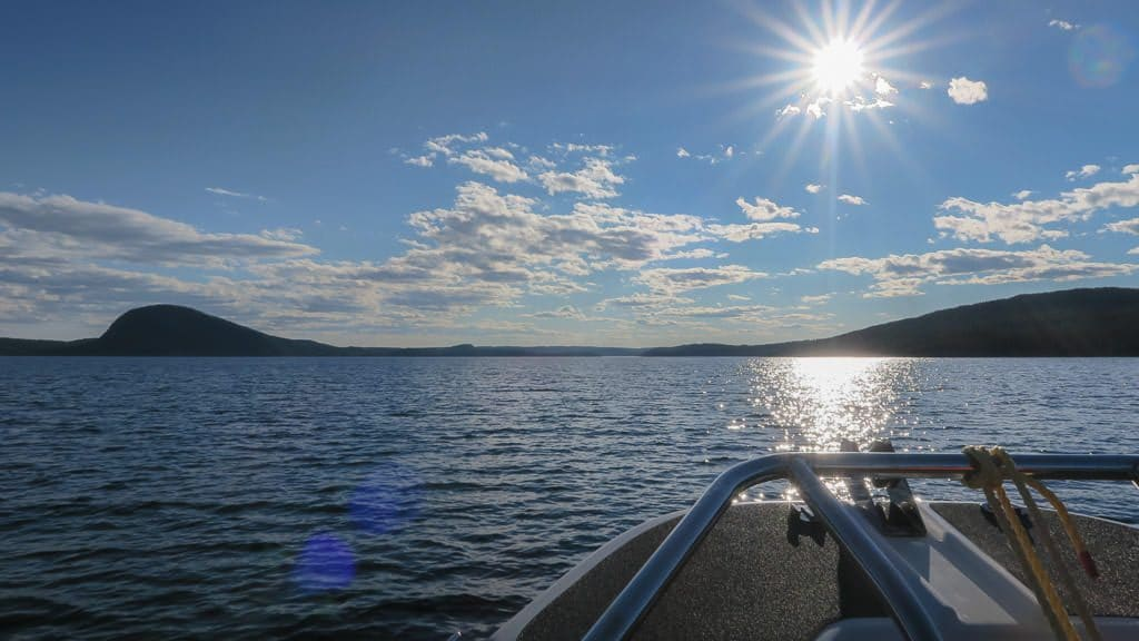 Sun shining on the water while out on the boat during this Newfoundland tour