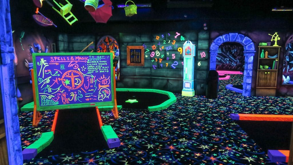 Wizard Golf course glowing that was included in our Clifton Hill Fun Pass