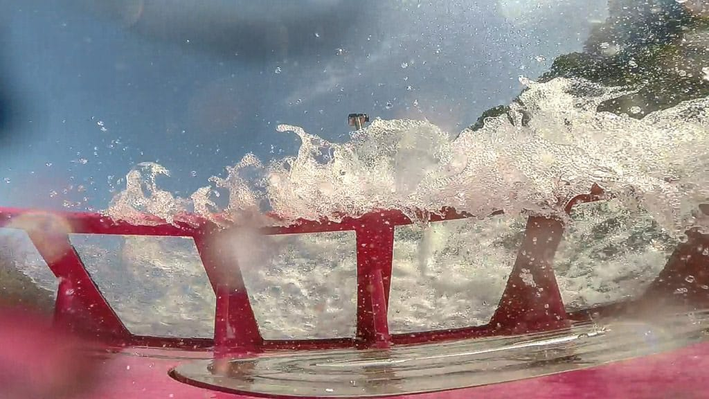 Water coming over the front of the whirlpool jet boat during our tour at Niagara Falls
