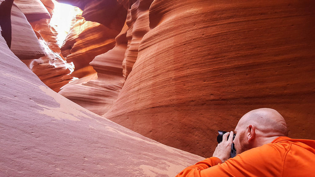 Buddy taking photos of Lower Antelope Canyon during our tour with Ken's Tours