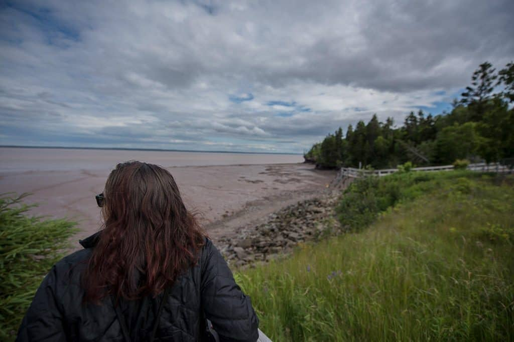 Brooke taking in the views from a more secluded portion of Hopewell Rocks