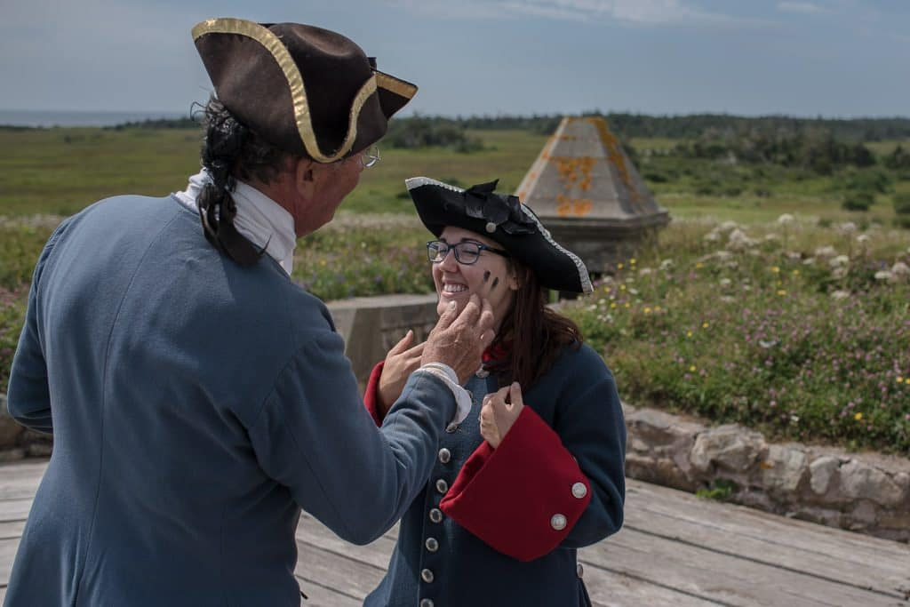 Brooke receiving her official black marks from the gun powder after a successful cannon firing to protect the Fortress of Louisbourg