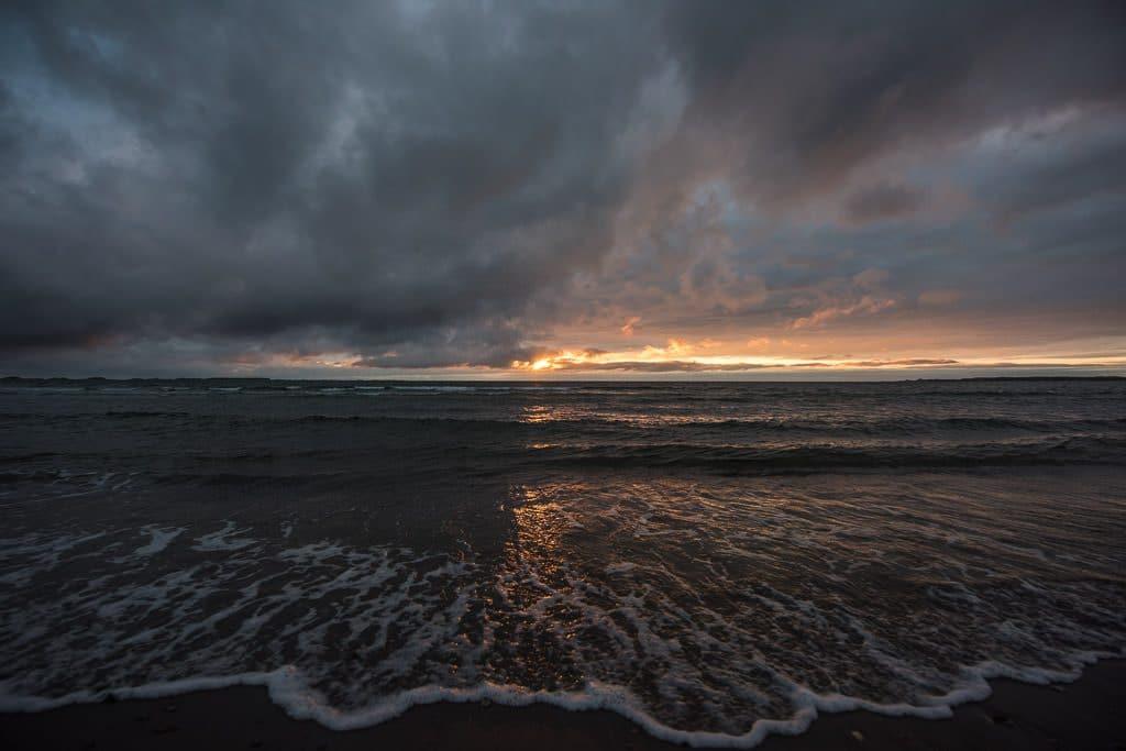 Sun setting over Shallow Bay