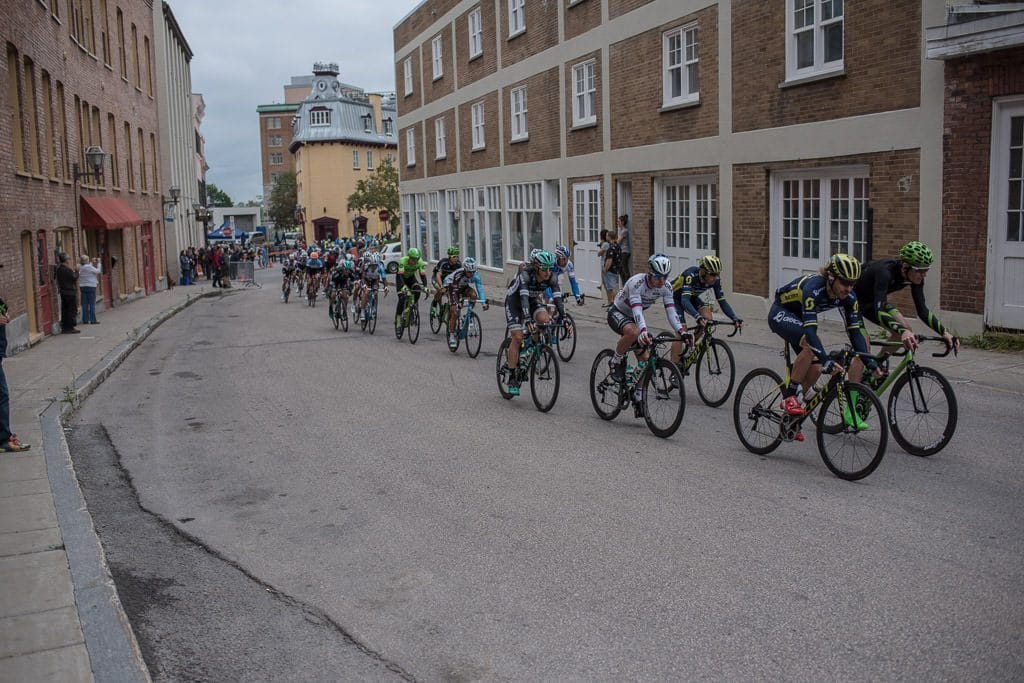 Bikers racing through the narrow streets of Quebec City