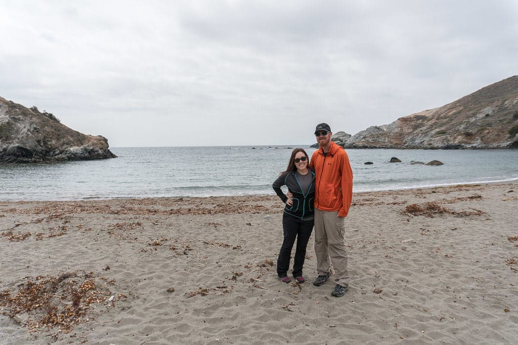 Brooke and Buddy on the very secluded beach during our tour of the Interior of Catalina Island