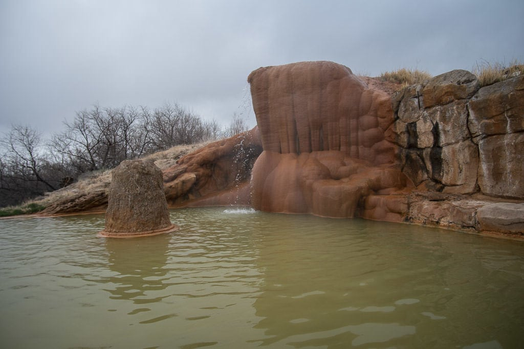 One of the larger Hot Spring soaking pools at Mystic Hot Springs