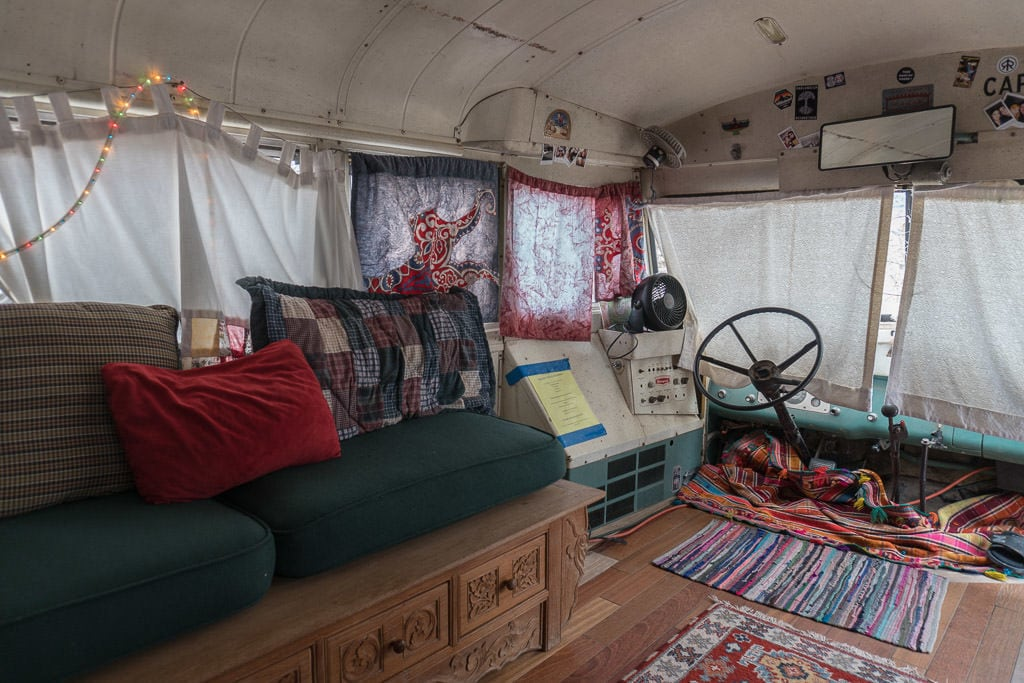 Inside of The Ripple schoolie bus at Mystic Hot Springs