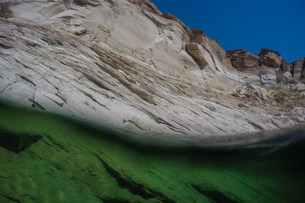 Lake Powell rocks and clear water