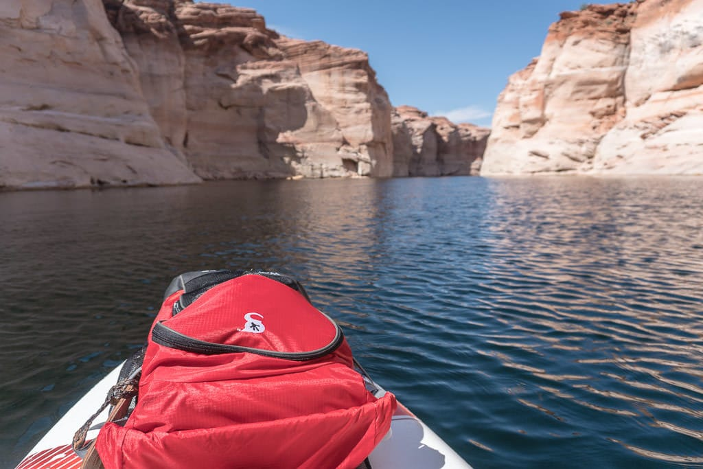 Our Gecko Brand Dry Bag on the front of a paddleboard on Lake Powell