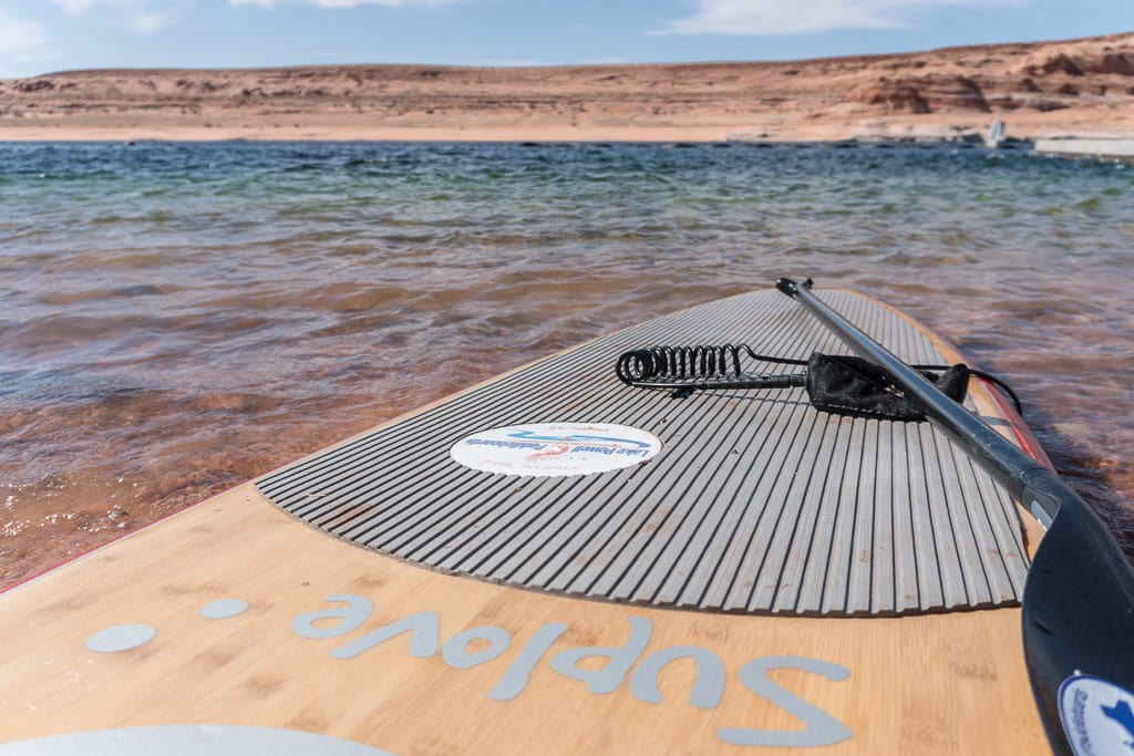 Our very new paddleboard we rented from Lake Powell Paddleboards in the water