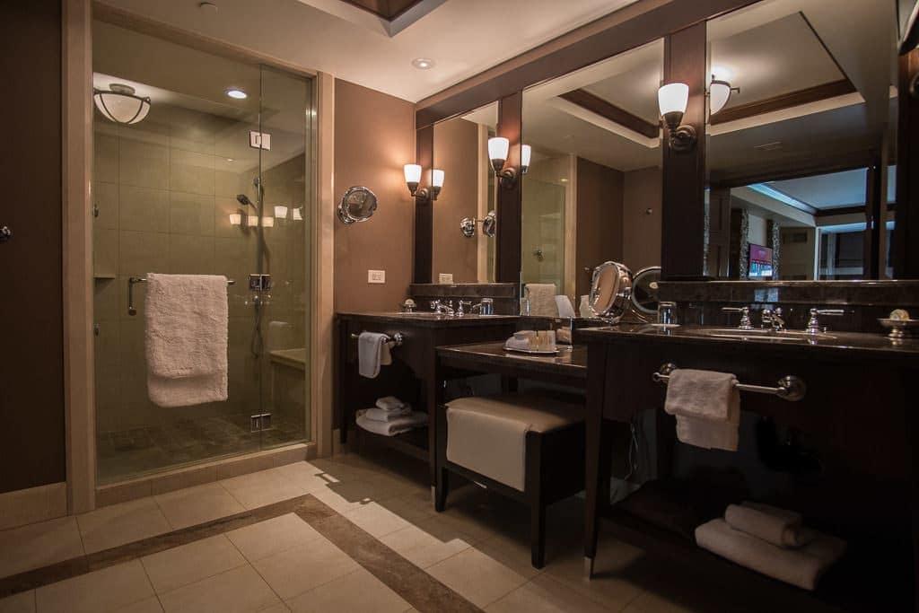 Very large bathroom with double vanity and large walk-in shower in Ameristar Black Hawk Resort