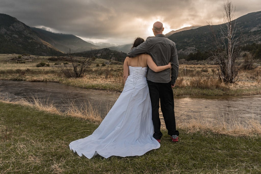sunset after rocky mountain vow renewal in Colorado