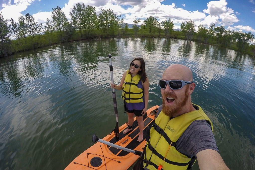 Brooke and Buddy Stand Up Paddleboarding on Standley Lake