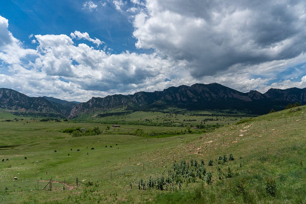 View of the iconic Flatirons and Rocky Mountains from the Marshall Mesa Trail