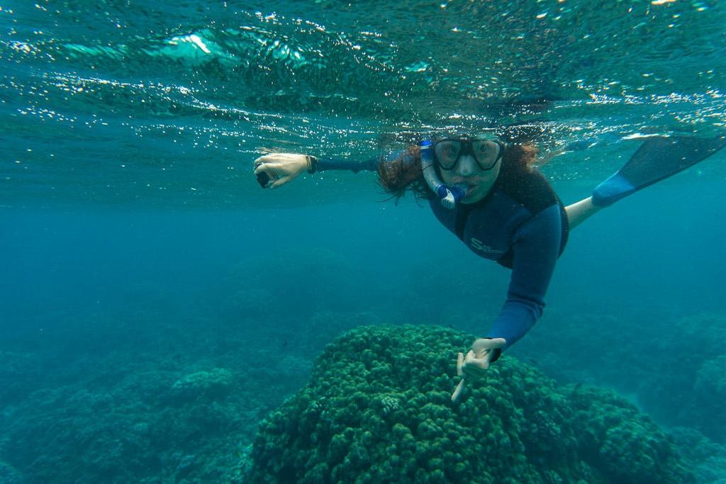 Brooke snorkeling in molokai