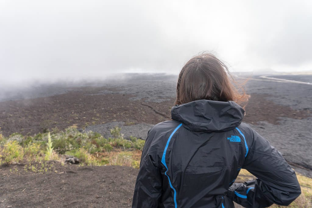 looking out over lava field near mauna kea