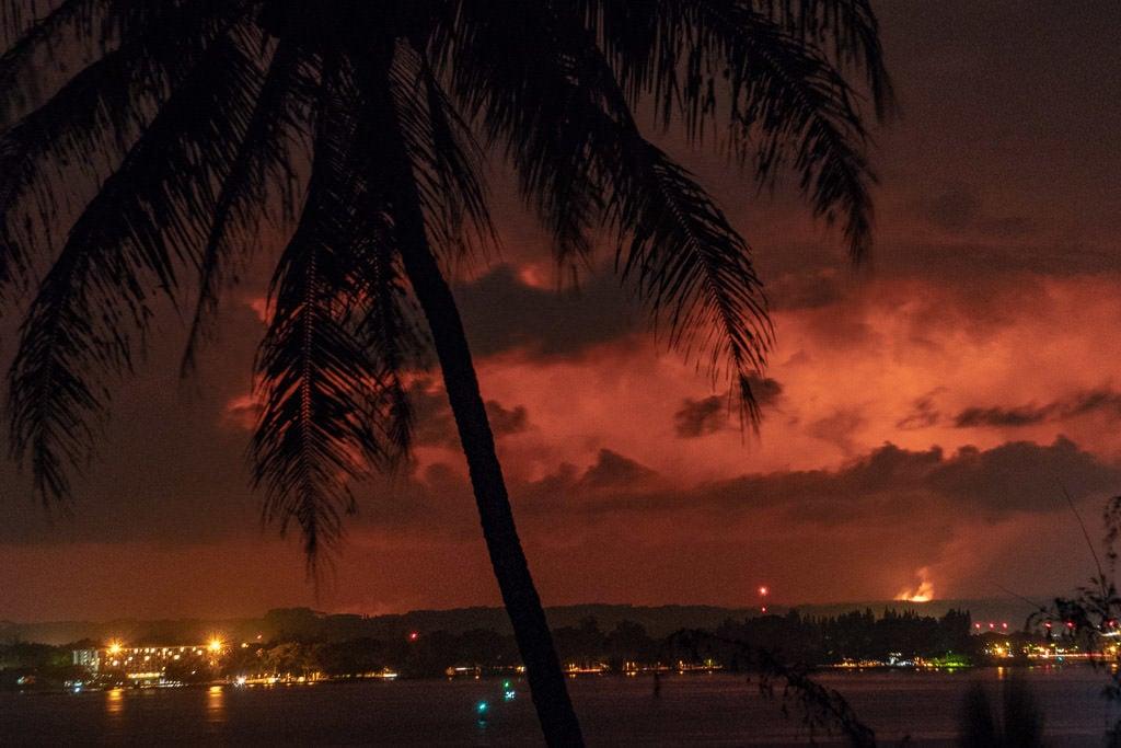 looking at volcanic eruption from hilo, big island hawaii