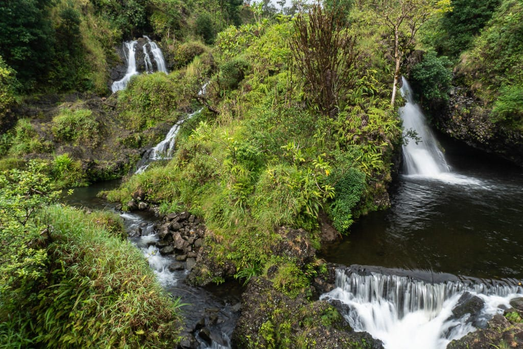 Multiple waterfalls right off of the Road to Hana