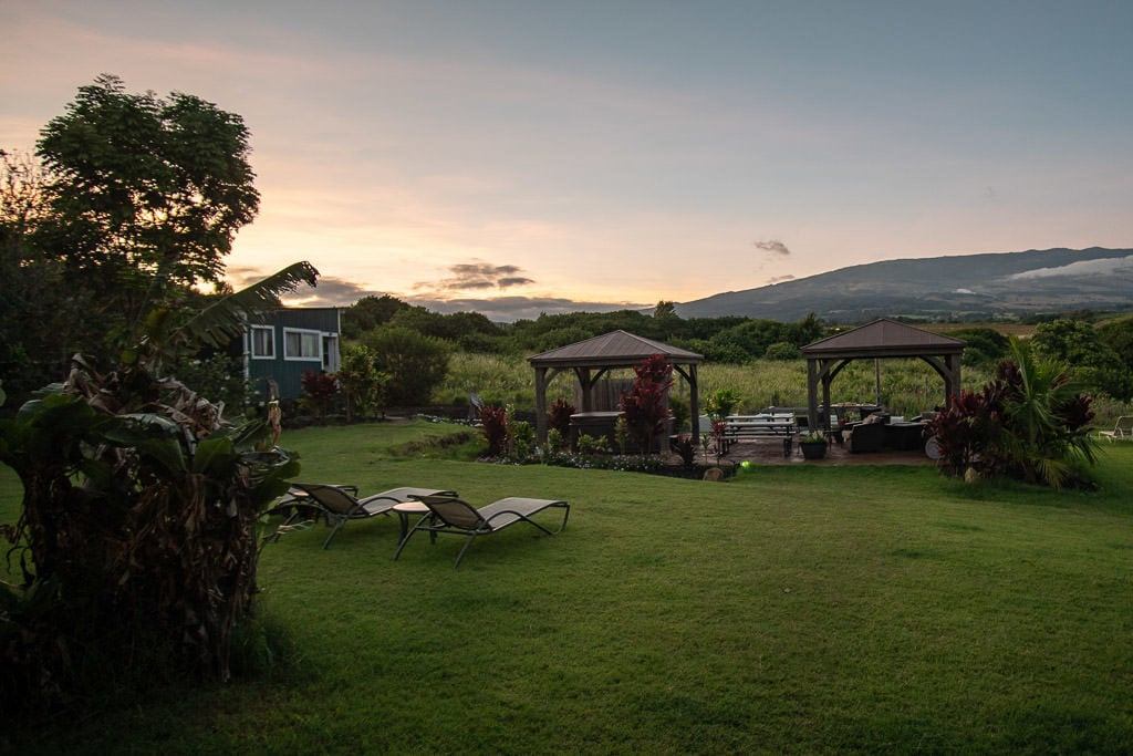 Lawn chairs and gazebos to relax in and enjoy the sunset at Peace of Maui