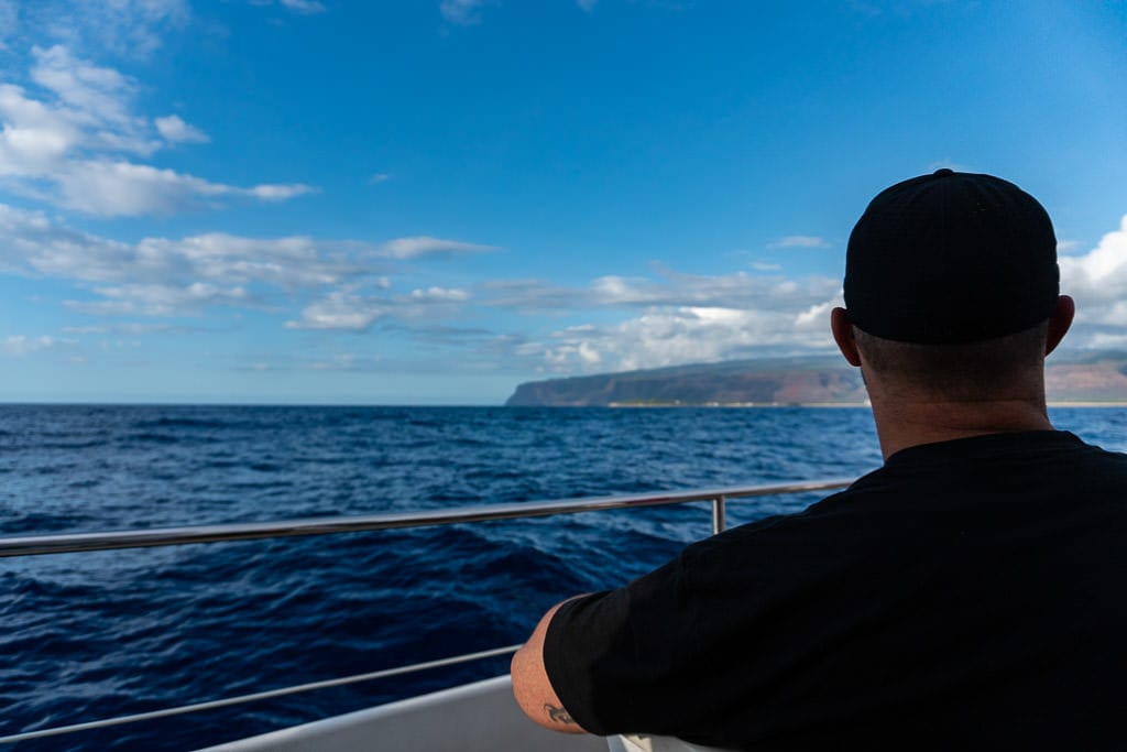 Rob looking out over the ocean on a napali coast boat tour