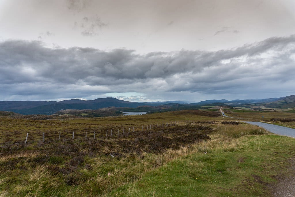 road from loch ness to inverness in scottish highlands