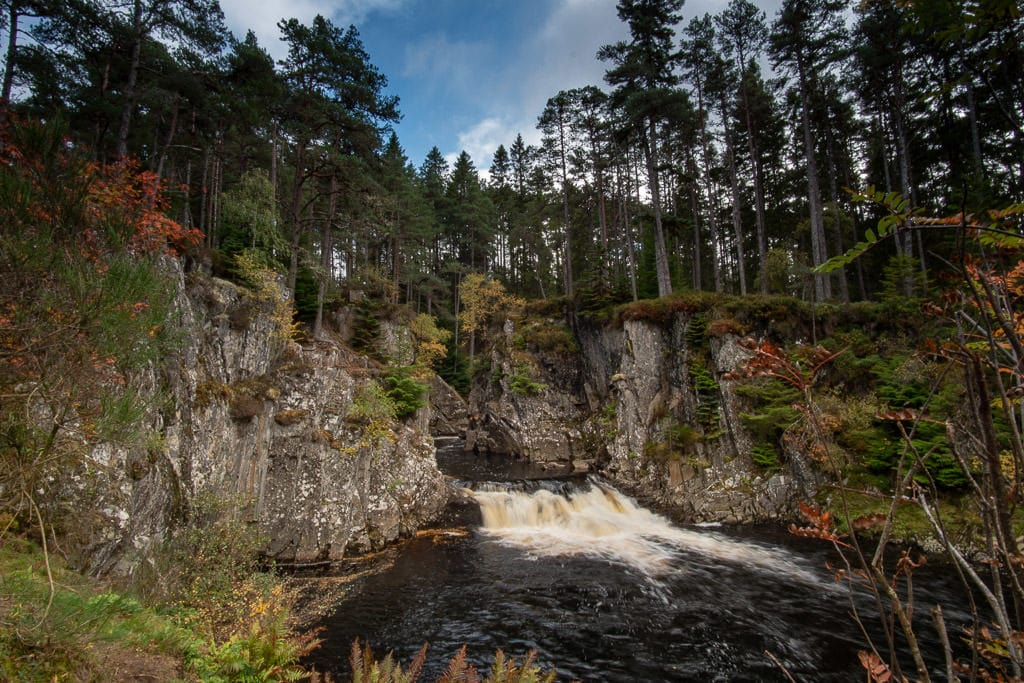 waterfall in Cairngorms National Park near inverness scotland