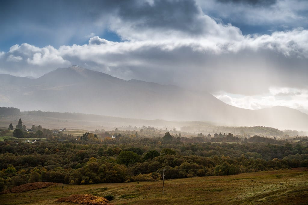 foggy day with mountain views in Cairngorms National Park near inverness scotland