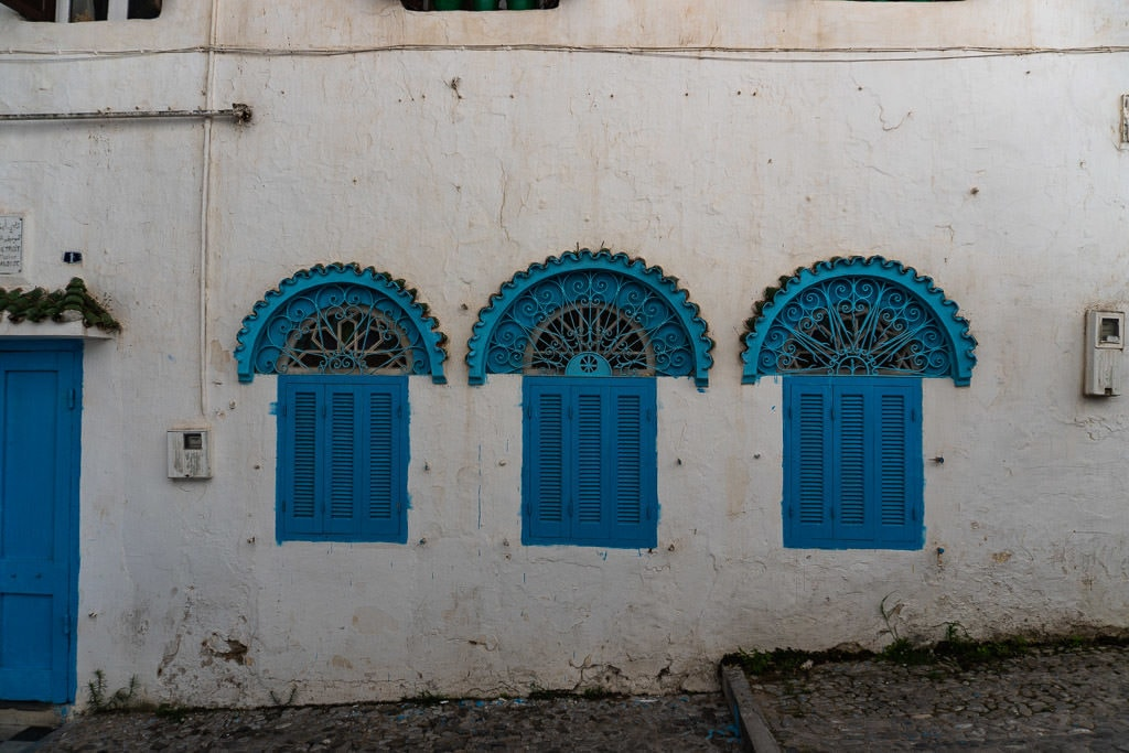 colorful windows in tangier on a day trip to Morocco