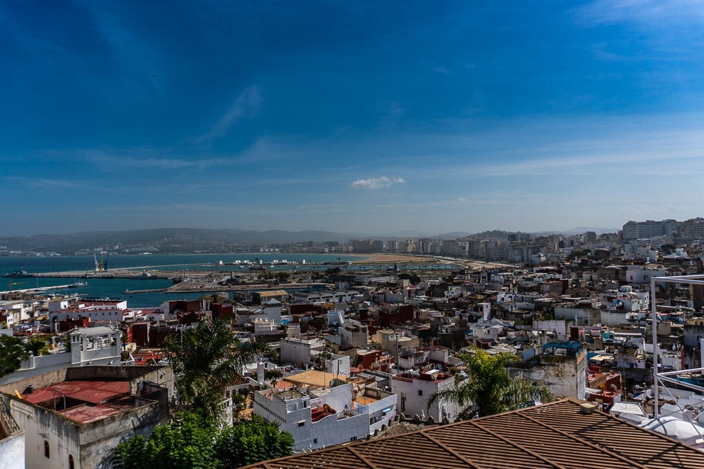 colorful rooftop views at tangier restaurant on day trip to morocco tour