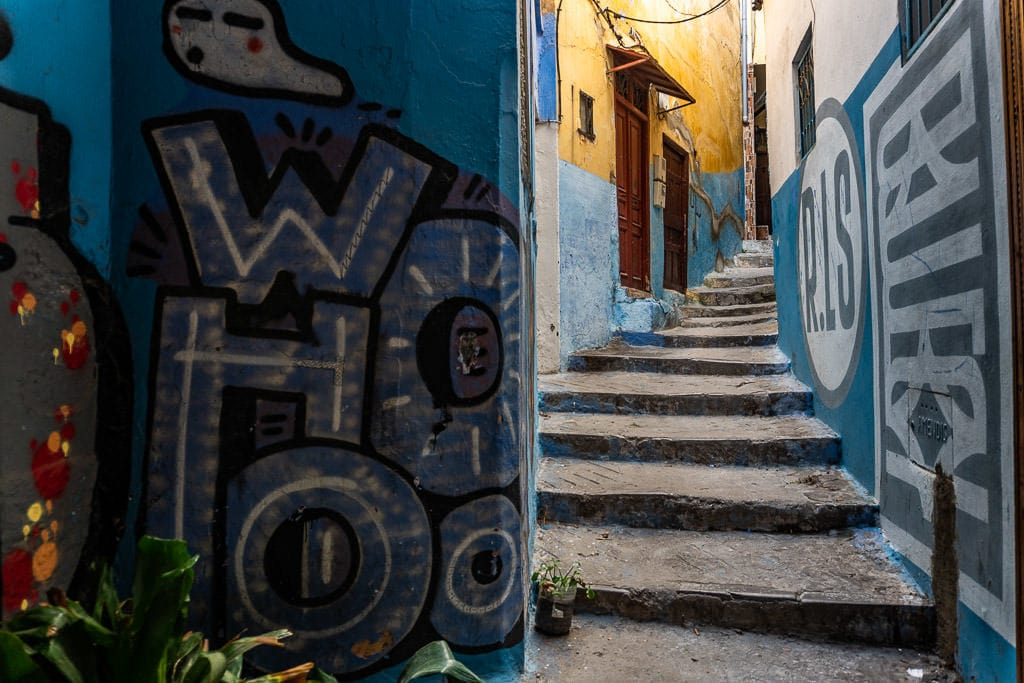 colorful street art in tangier on a day trip to Morocco