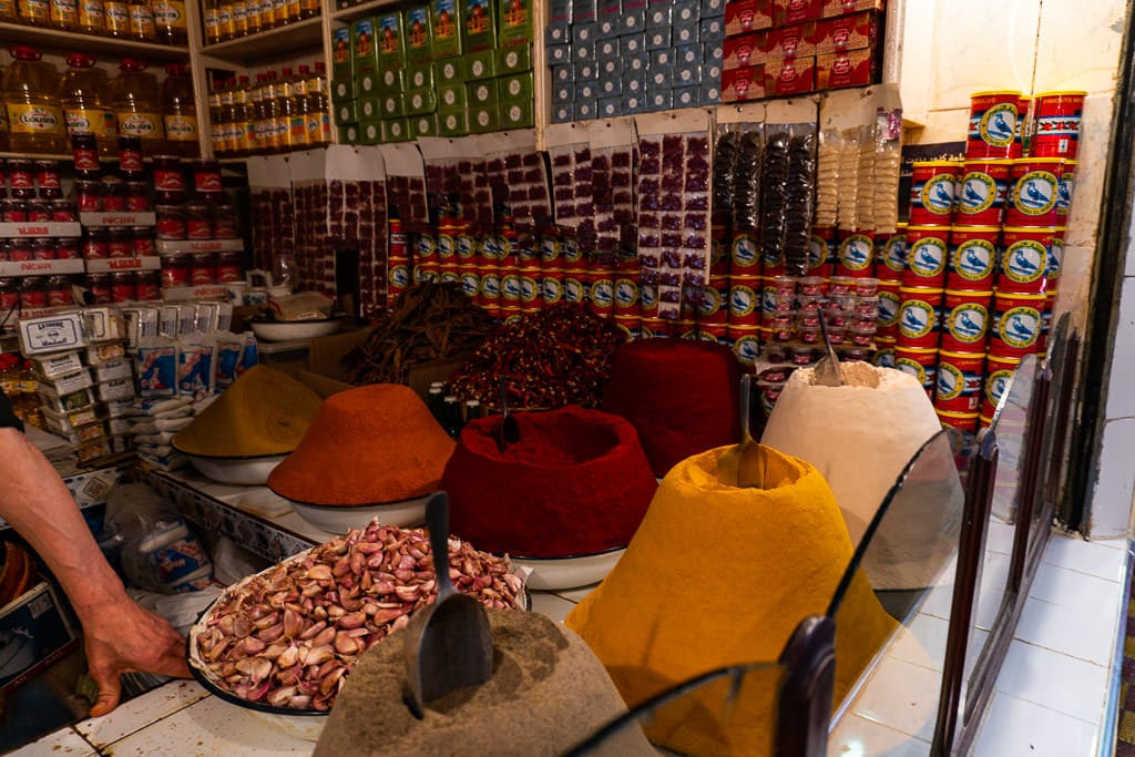 colorful fresh herbs in medina of tangier on day trip to Morocco tour