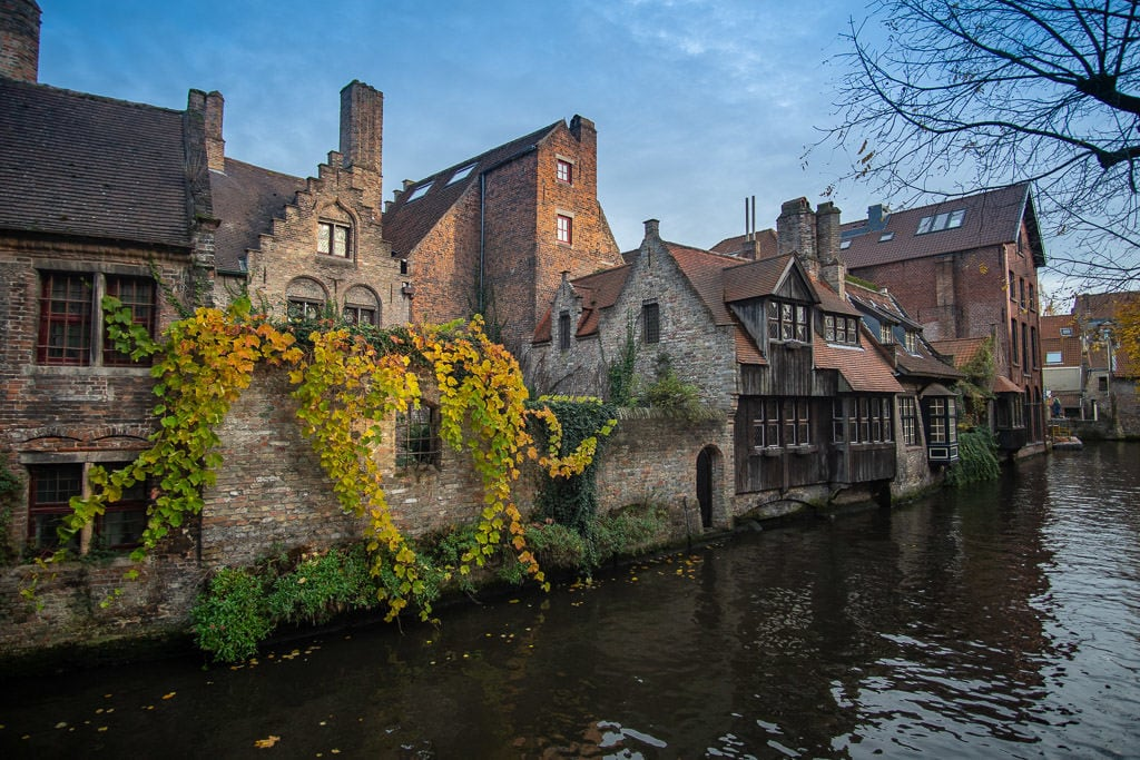 blue sky day and canal in bruges belgium on two day trip