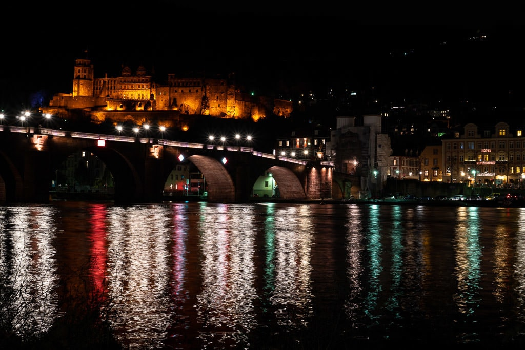 heidelberg germany castle view from river at night