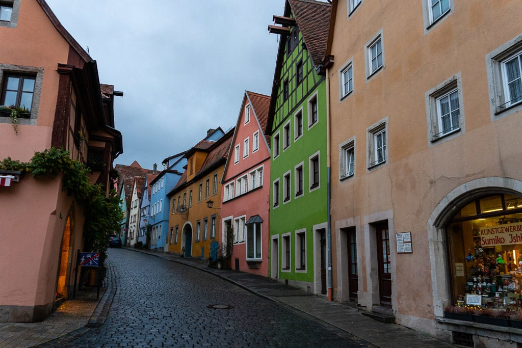 colorful city street in rothenburg germany