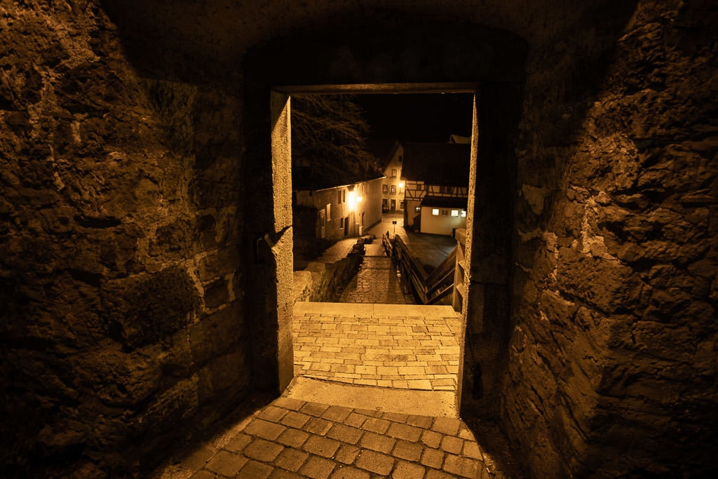 historic wall at night in rothenburg germany