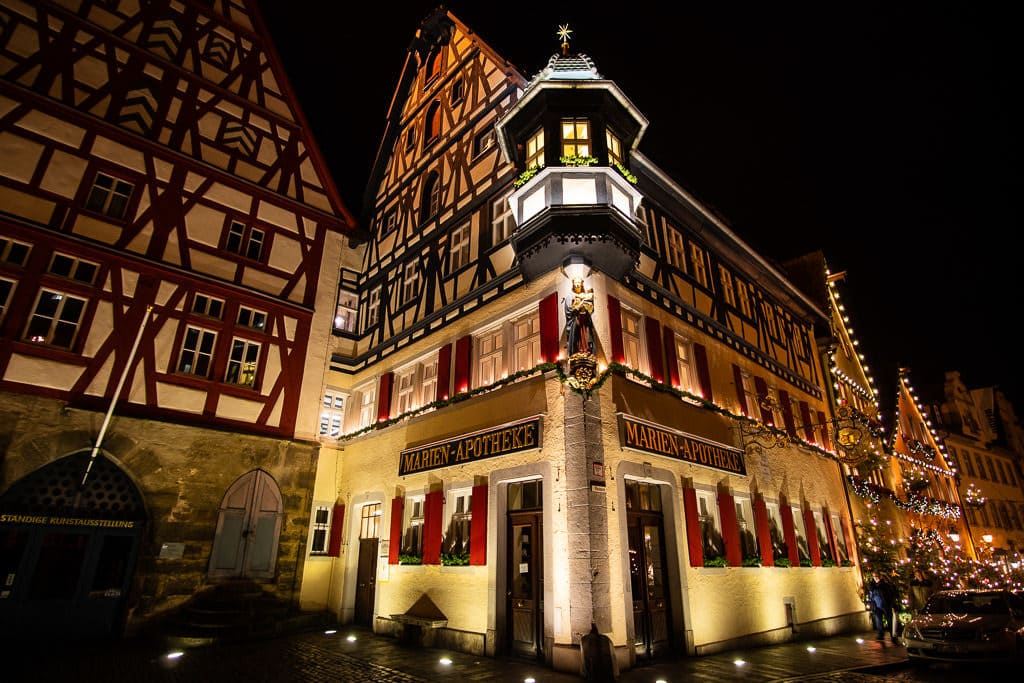 colorful medieval architecture and christmas in rothenburg