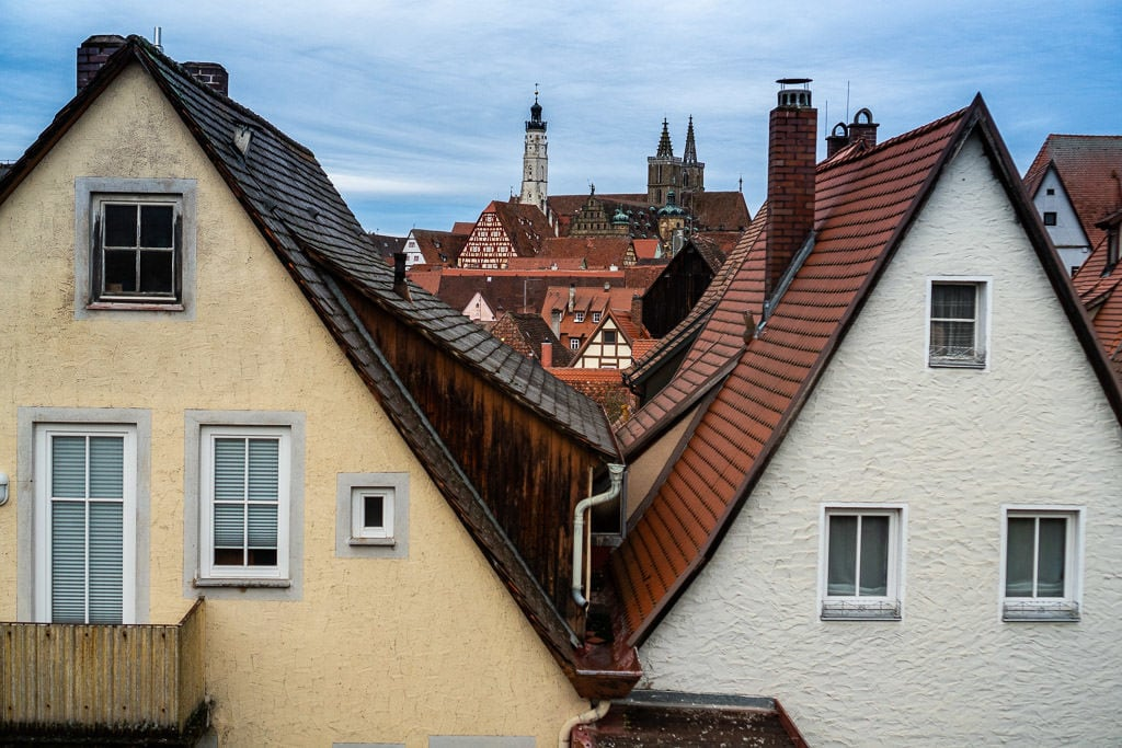 views of red roofs of rothenburg from city walls
