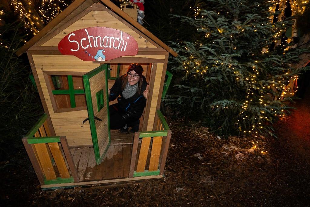 tiny house at Schloss Hellbrunn Palace christmas market in salzburg austria