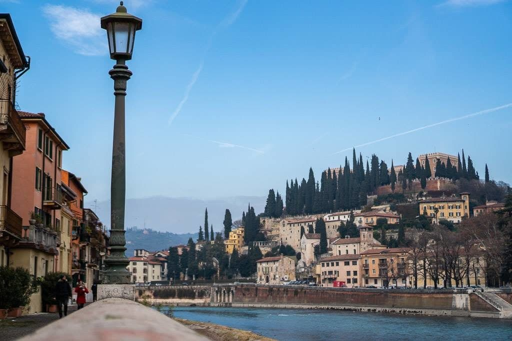 verona italy views from river during winter visit