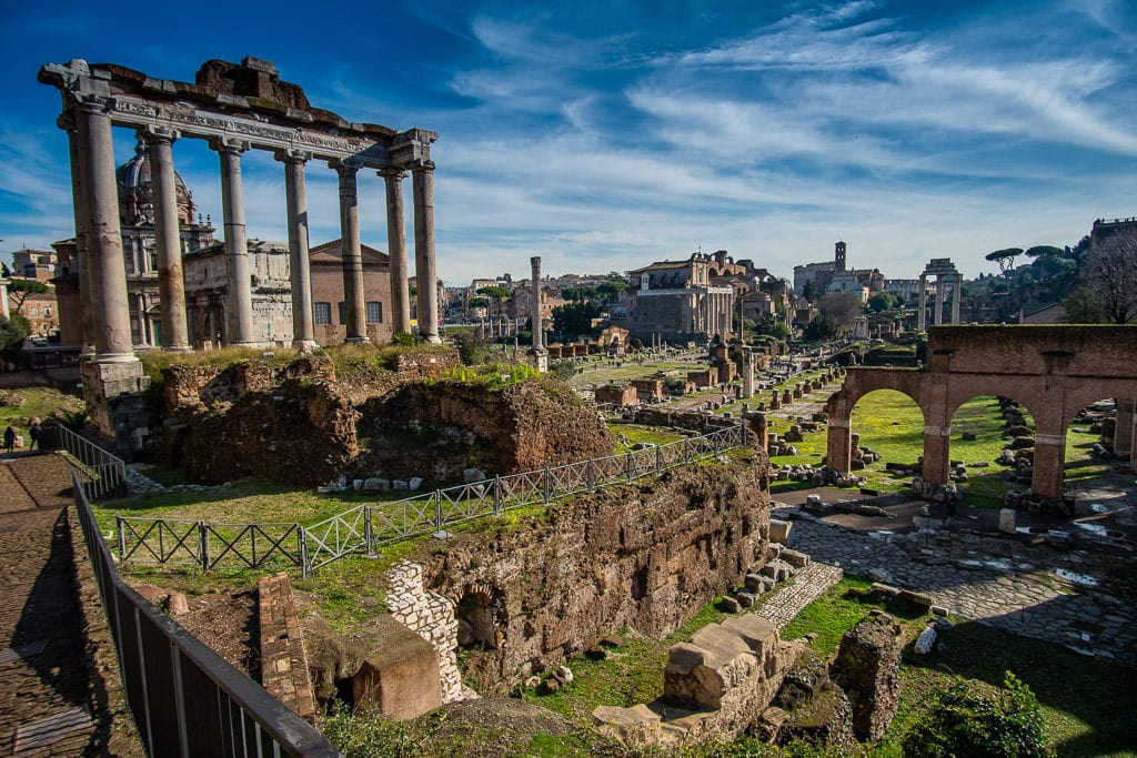 roman forum in rome italy on a sunny day