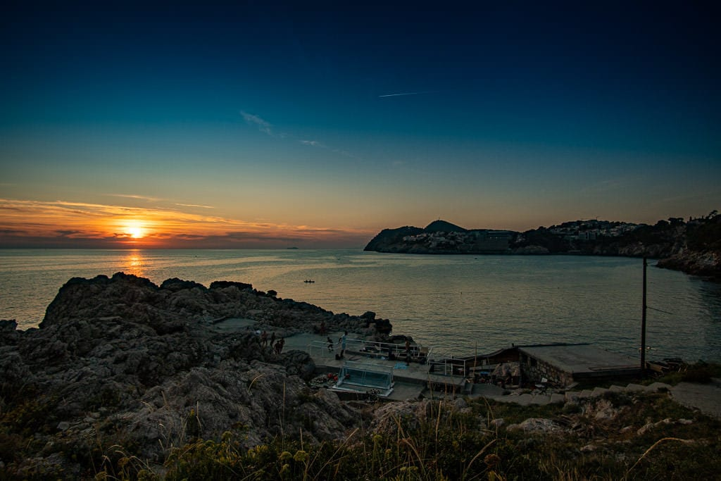 Sunset over Danče Beach with some locals playing a little footie
