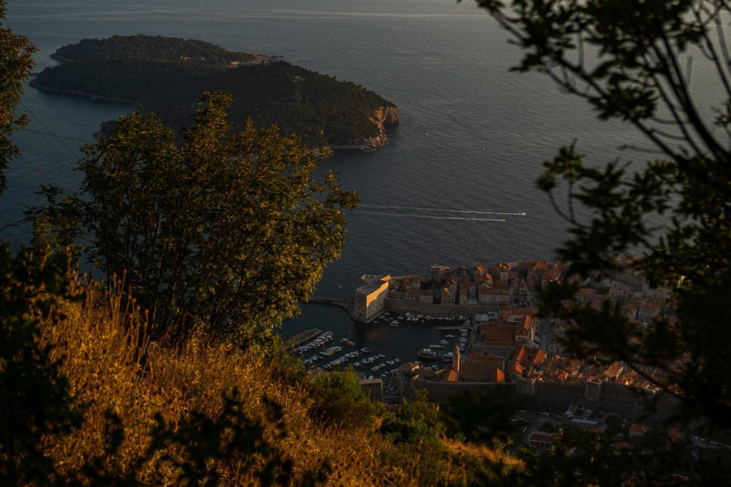 View of Old Town Dubrovnik while hiking up Mount Srd