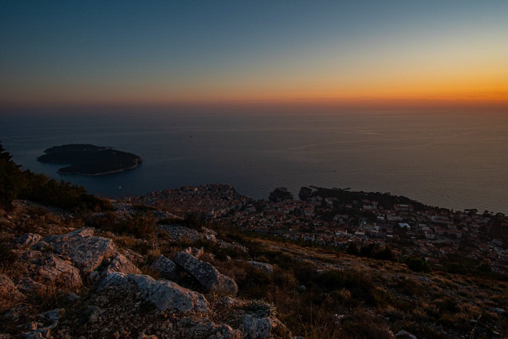 Dubrovnik Old Town at sunset from Mount Srd