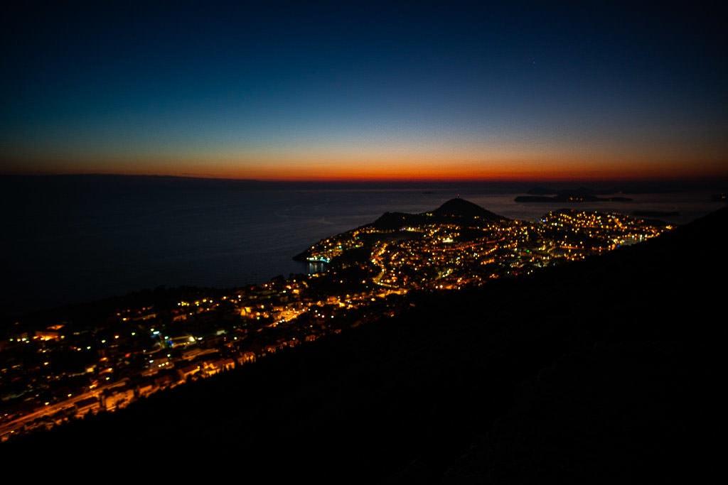 City lights of Dubrovnik from Mount Srd after sunset