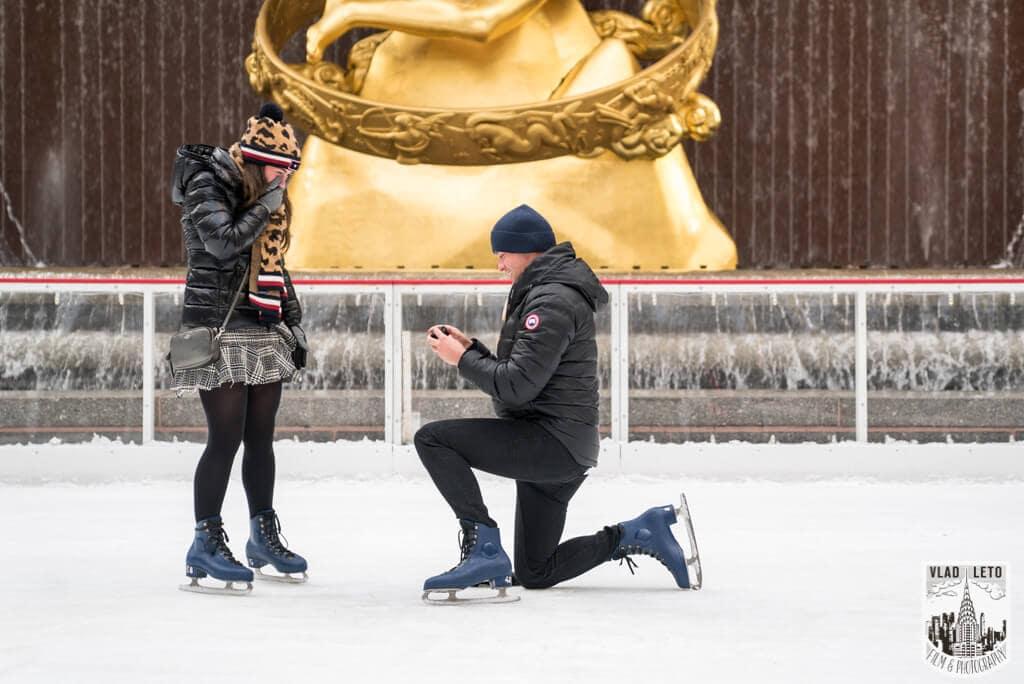 Photo 2 Ice Skating Marriage Proposal at The Rink at Rockefeller Center | VladLeto