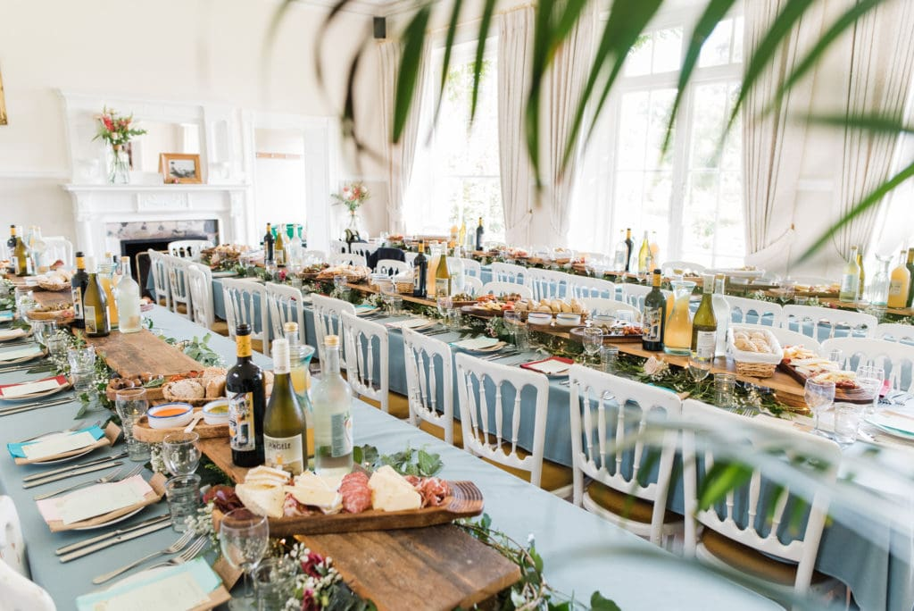 Natural and organic wedding food displayed in dining room
