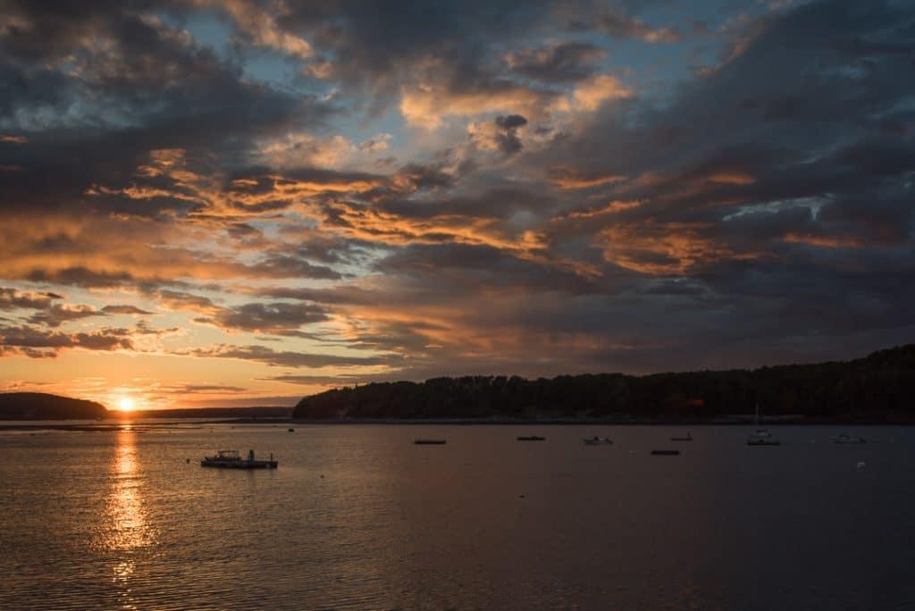 Sunset over Bar Harbor Maine