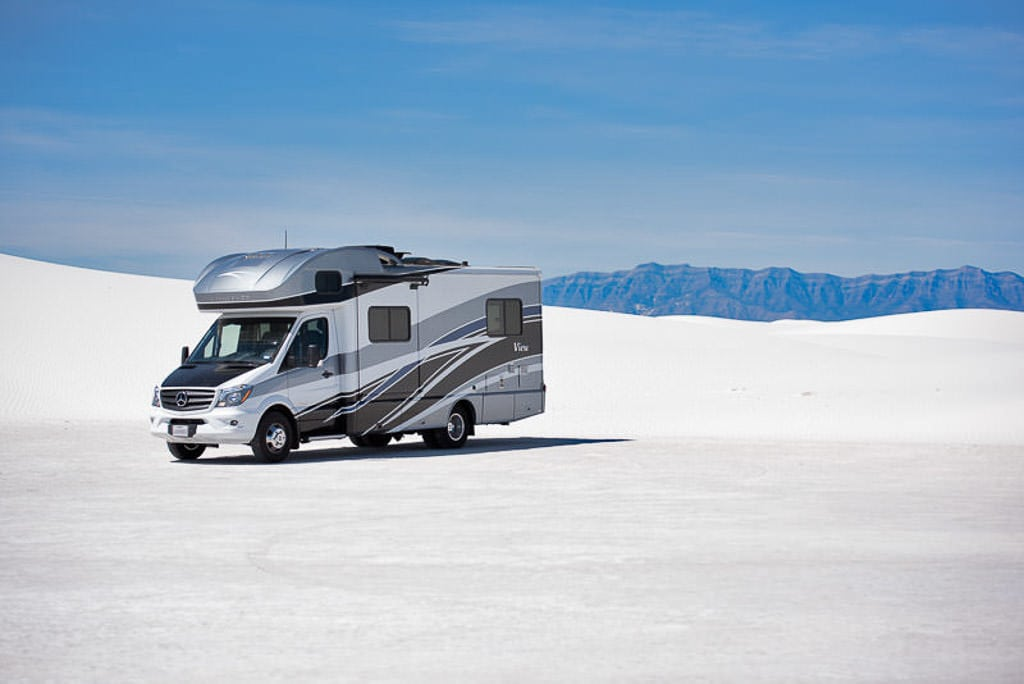 Our Winnebago View parked in White Sands National Park