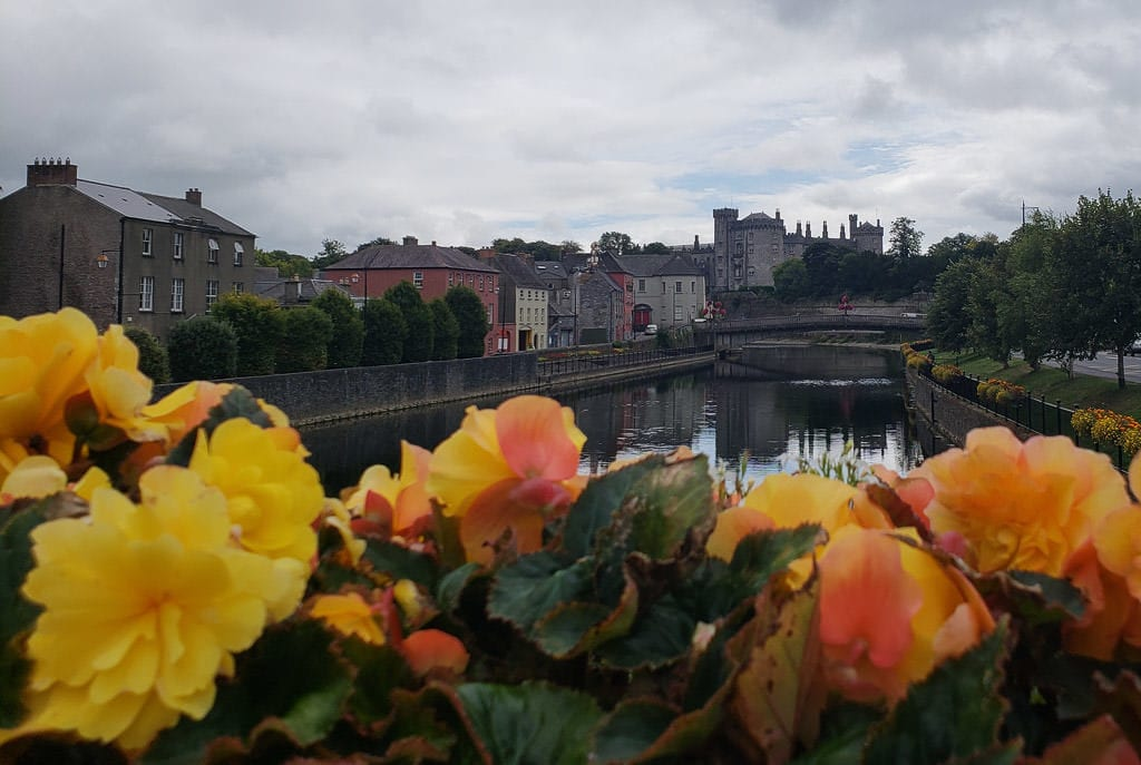 Flowers on a bridge looking down the river in Kilkenny